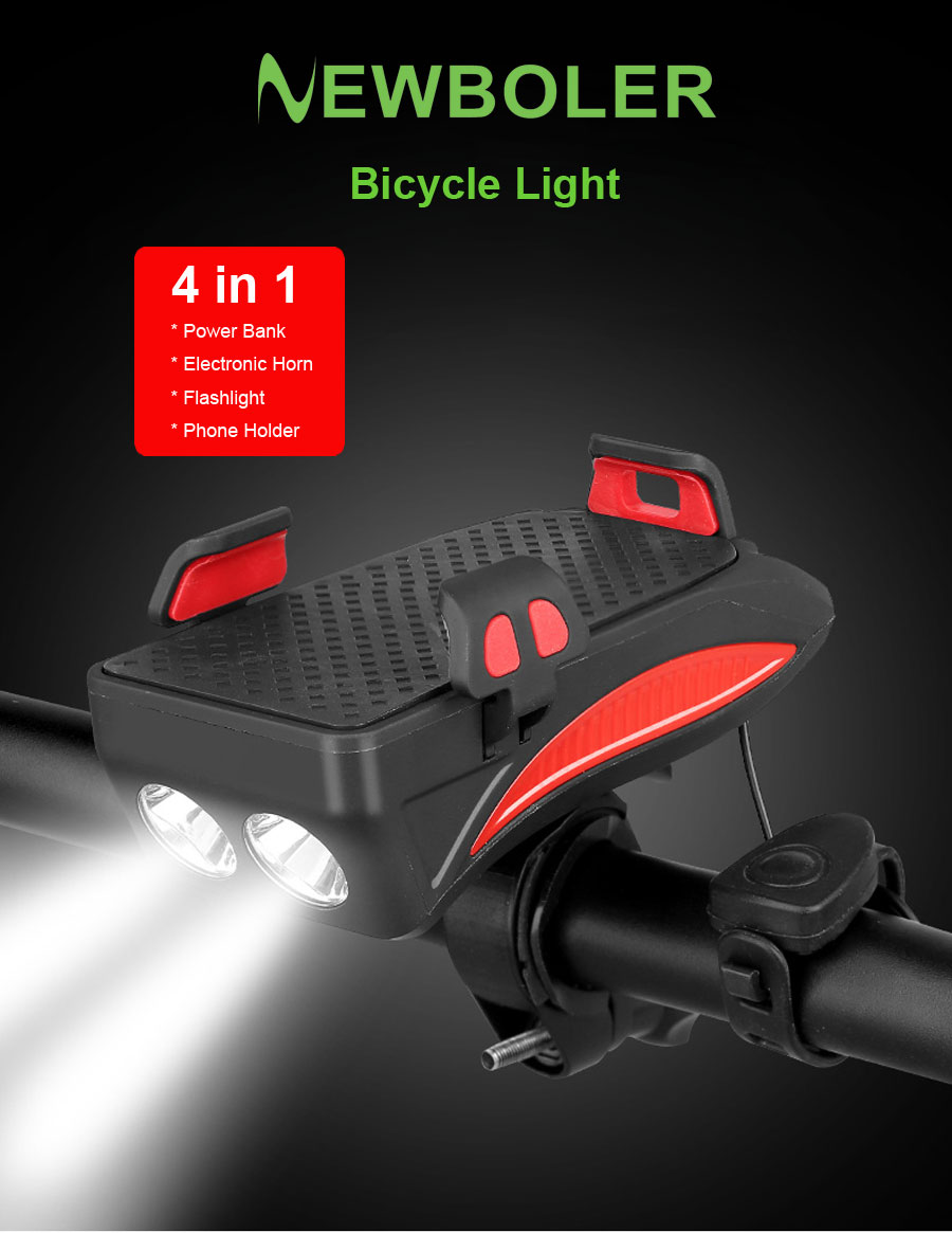 Best NEWBOLER 4 in 1 Bicycle Light Power Bank 4000mAh Flashlight Bike Horn Alarm Bell Phone Holder Bike Accessories Cycle Front Light 0
