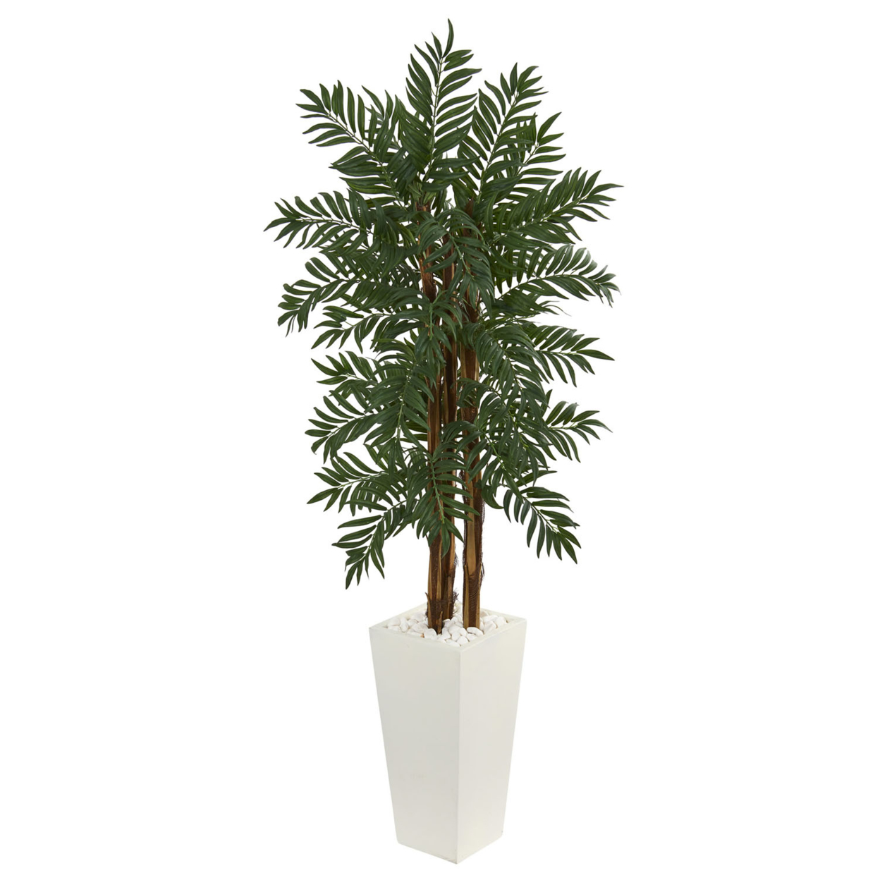 Nearly Natural 5.5\' Parlor Palm Artificial Tree in White Tower Planter