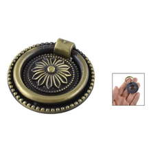 Best Selling Bronze Tone Flower Pattern Metal Ring Furniture Door Pull Handle Grip