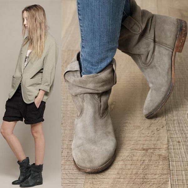 2016 Fashion Top Quality Wedge Ankle Boots Black Gray Brown Ladies Shoes Suede Pointed Toe Slip-On Fashion Women Ankle Boots<br><br>Aliexpress