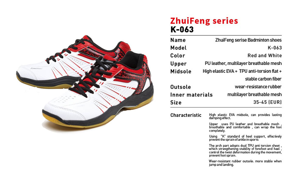 Kawasaki Professional Badminton Shoes 17 Breathable Anti-Slippery Sport Shoes for Men Women Sneakers K-063 7