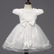 1-7Y Girls Dress Baby Girl Flower Big Bow White Princess Dress Beautiful Children Party Wedding Dresses Kids Lace Evening Gowns(China)
