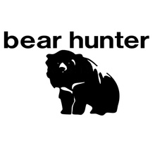 Strong Bear and Hunter Car Sticker for Bumper Auto Door Window Laptop Kayak Animal Look for Food Graphics Vinyl Decal 10 Colors