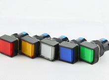 12V 24V 220v  16mm  Momentary  push button switch LED lamp 5pin square button switch