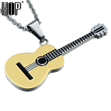HIP Rock Two Tone Gold Color Titanium Stainless Steel Music Guitar Pendant Necklace for Men Jewelry(China)