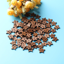 100Pcs 2 Holes DIY Star Shape Wooden Button Scrapbook Craft Sewing Buttons 18mm Clothing Accessories