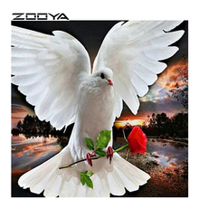ZOOYA DIY Diamond Mosaic Rhinestone Painting Wall Stickers Animals Peace Pigeon Red Rose Ctures By Numbers Embroidery AT960(China)