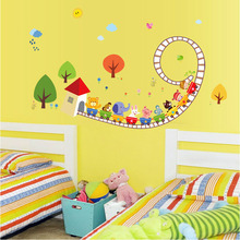 [Fundecor] diy home decor cartoon animal small train paradise wall stickers decorative decals, children's bedroom
