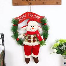 1pc Christmas Ornament Rattan Ring Wreath Door Hanging Plush Santa Claus Snowman Elk Gift Christmas Tree Decorations #45(China)