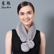 QiuMei Full Pelt Fur Ring Scarves Genuine Rex Rabbit  Scarf Winter Russisn Cute Gray Pompom Natural Fur Scarf for Women