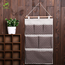 Practical Dots Storage Bag Fabric Cotton Linen Cloth Door Wall Organiser Closet Hanging(China)