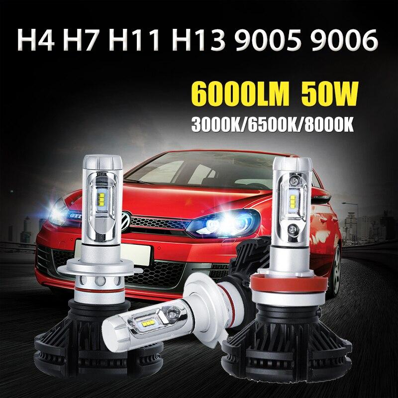 Oslamp H4/H7/H11/H13/9005/9006 50W LED Car Headlight Bulbs 6000lm CREE Chips Auto Headlamp Fog Light 12v 24v 3000K/6500K/8000K<br><br>Aliexpress