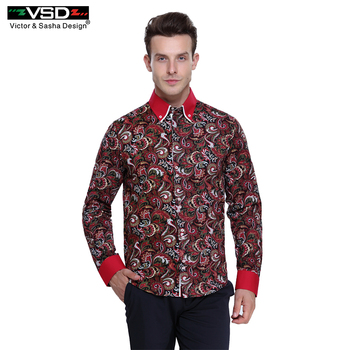 VSD Freeshipping Italiano flor impresso Camisas dos homens Slim Fit Moda impressão hombre Camisa de Manga Longa dos homens Euro Tamanho Homme