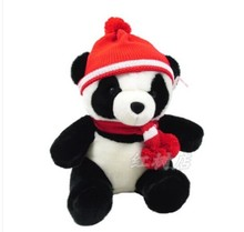 sitting height about 25cm Panda with red hat plush toy scarf panda doll,Christmas gift w0789(China)