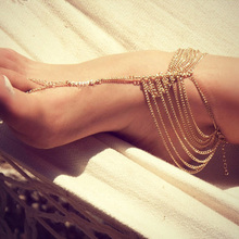 New Summer Fashion All Match Multi Layer Tassel Chain Toe Ring Anklet Women Foot Jewelry Beach Free Shipping Body-0240-GD(China)