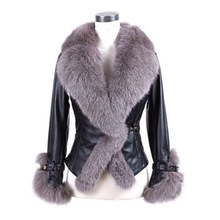 Women Winter Faux Fur Coat 2016 New PU Sheepskin Leather Coat Fox Fur Collar Slim Coats Women Long Sleeve Warm Black Outerwear