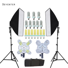 Photography Studio Continuous Lighting Softbox Kit Lights Phot and Double 4 Lamp Holder Photo Studio Diffuser +2M Light Stand(China)