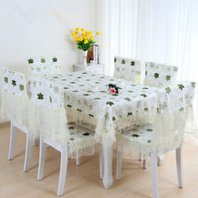Maple Leaf Print 150*150cm Table Cloth Home decor Tablecloth Set 6pcs Chair Cover+6pcs Chair Mat+One Table Cover toalha de mesa