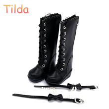6cm 7cm High Heels BJD Doll Boots,PU Leather MSD Doll Shoes,Women's High Heel For 1/4 and 1/3 Dolls Toy Tilda Doll Accessories(China)