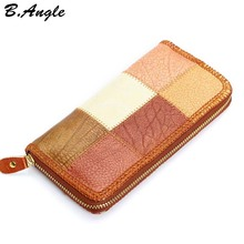 New Candy Color Pattern Joint Wallet Cowhide Genuine Women Wallets Cute Wallet Women Purse Card Holder Coin Purse