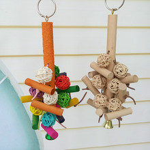 Colorful Natural Birds Toys Pet Parrot Cockatiel Parateer Hanging Balls Swing Chew Toy for Pets Bird Accessories 3Pc(China)