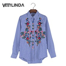 VESTLINDA Striped embroidered flower blouse shirt Women 2017 Casual Long Sleeve Turn Down Collar Blusas Tops Femme Loose Blouses