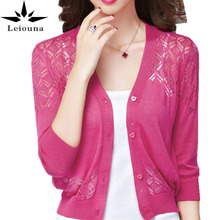 Leiouna Love Button Korea Cardigan Spring Summer Hollow Out Lace Short Sweater V-neck Small Waistcoat Promotion