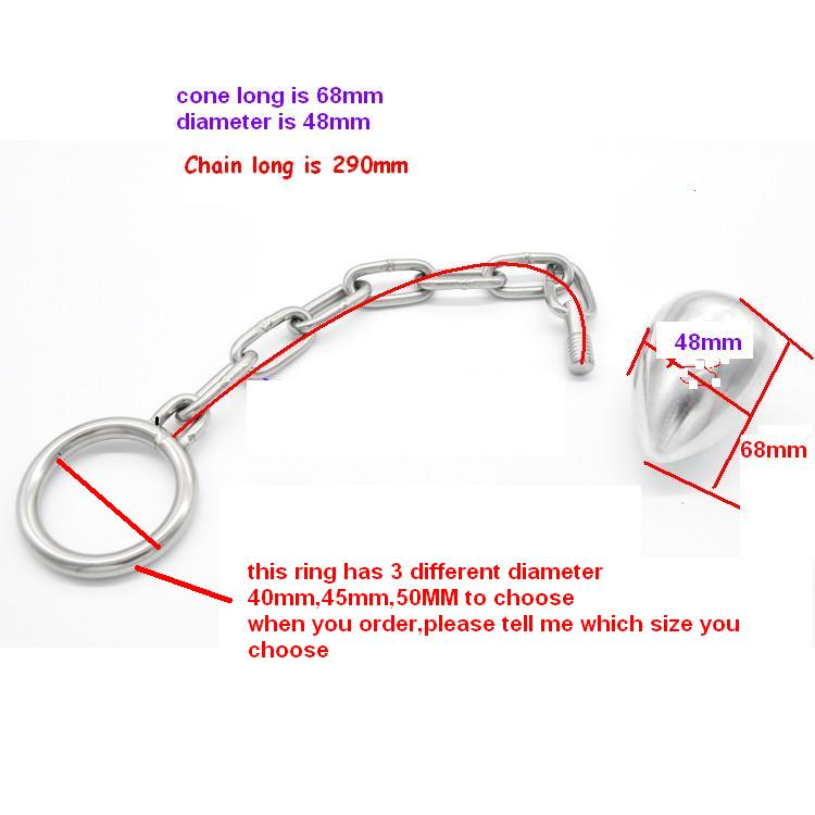 Stainless steel chain anal suppository penis ring large metal anal plug anal enema anal comrade<br>