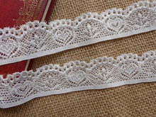 5 Yards Lovely Heart Stretch Lace Trim in White for Bridal, Baby Headband, Wedding Garter, Costumes