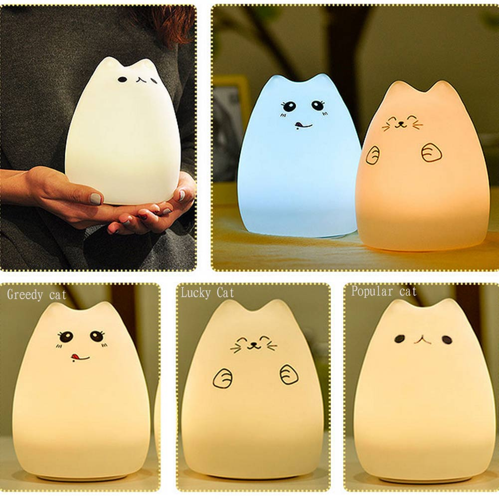 2016 New Multi-Color LED Children Animal Night Light Cute Cat Little Devil Silicone USB Rechargeable Lamp