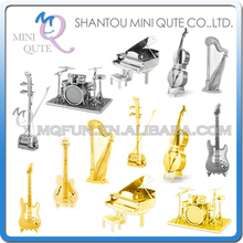 Mini Qute Piece Fun 3D musical instrument Guitar harp erhu Drum Set Piano Bass FiddleI Metal Puzzle adult models educational toy