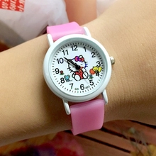 Super Value 10PCS/LOT Cute KT Children Quartz Wristwatches Girls Glow In The Dark Silicone Cartoon Kid Jelly Watch Factory Price(China)