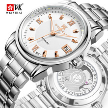 WEISIKAI New Famous Brand Luxury Automatic Mechanical Watch Men Diamond Steel Strip Waterproof Gold Watches Relojes Hombre