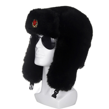 Soviet Army Military Badge Russia Ushanka Bomber Hats Pilot Trapper Aviator Cap Winter Faux Rabbit Fur Earflap Snow Caps