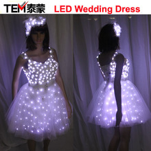 Free Shipping New Arrival Bride Light Up Luminous Clothes LED Costume Ballet Tutu Led Dresses For Dancing Skirts Wedding Party
