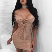 Hot Women's Summer Clothing Sexy Party V Neck Lace Up Bandage Dress Front Wrinkled Strapless Off Shoulder Mini Sheath Dresses