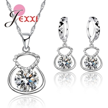 JEXXI 925 Sterling Silver Cubic Zirconia Necklace Earrings Jewelry Sets Purse Shape CZ Crystal Wedding Anniversary Accessory