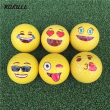 2017 New Emoji Funny Golf Balls 6 Styles Yellow Ball Golf Game Training Gift Accessories(China)