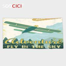 Custom Microfiber Ultra Soft Bath/hand Towel,Vintage Decor Old School Plane in the Sky Trees Sixties Propeller Engine Historical