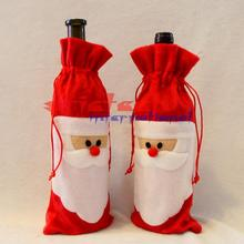 by dhl or ems 500pcs 2016 hot sale Red Wine Bottle Cover Bags Christmas Dinner Table Decoration Home Party Decors Santa Claus