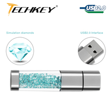 new TECHKEY Lipstick usb flash drive pen drive 64GB pendrive memory memoria cel usb stick 32GB 16GB 8GB 4GB Rhinestone gift(China)