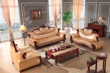 European leather sofa set living room sofa China wooden frame sectional sofa 1+4+chaise(China)