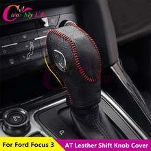Black Leather Shift Knob Cover Gear Head Covers Hand Brake Cover for Ford Focus 3 MK3 LHD 2012 Auto Accessories