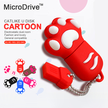 New Cartoon Cat Claw Usb flash drive 4gb/8gb/16gb/32gb cat's claw usb flash drive pendrive U disk 64gb pen drives memory stick
