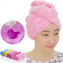 Coral velvet Magic Hair Dry Shower Cap Drying Turban Wrap Ultra thick Cap plus Bath Lady Magic Hair Drying Quick Dry Bath Hat(China)