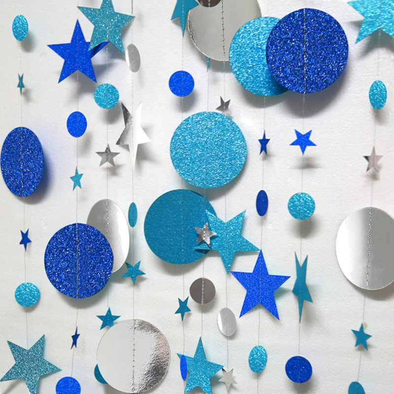 4M Paper Garland Star Heart Circle Chains Banner DIY Curtain for Birthday Party Kids Room Decoration Christmas Hanging Ornaments