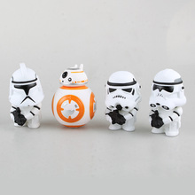 10cm Star Wars The Force Awakens Darth Vader Stormtrooper BB 8 Cartoon Action Figure PVC Model Toy Doll Gift Kids Decoration