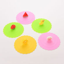 Cute Anti-dust Silicone Cup Cover Coffee Suction Seal Lid Cap Silicone Airtight Love Spoon Novelty(China)