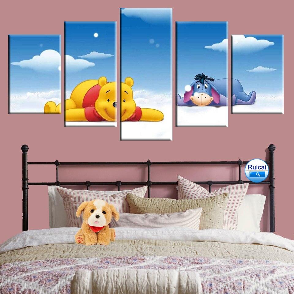 Decor Print Canvas Irene Sheri Painting Art Winnie The Pooh Sunny Window,Framed!