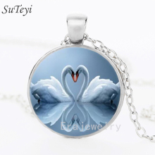 2017 New Round Glass Jewelry Swan Necklace Heart Swan Jewelry Glass Cabochon statement Necklace Pendant